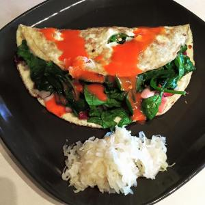 Spinach, Ham and Onion Omelette